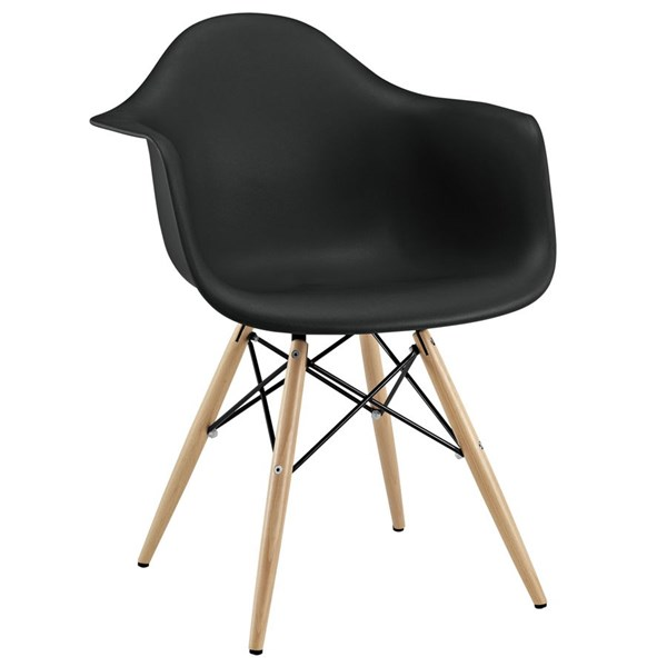 Pyramid Black Plastic Steel Solid Wood Dining Armchairs EEI-182-DR-CH-VAR