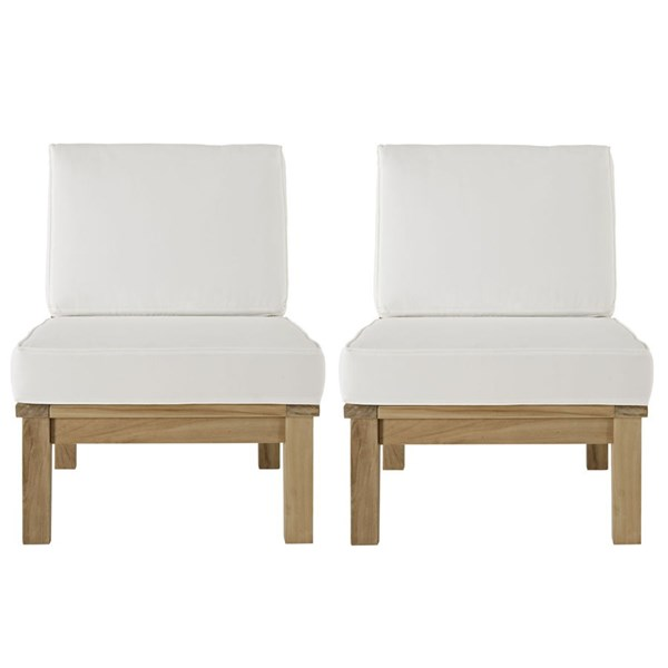 2 Marina Natural White Wood Outdoor Chairs EEI-1821-NAT-WHI-SET