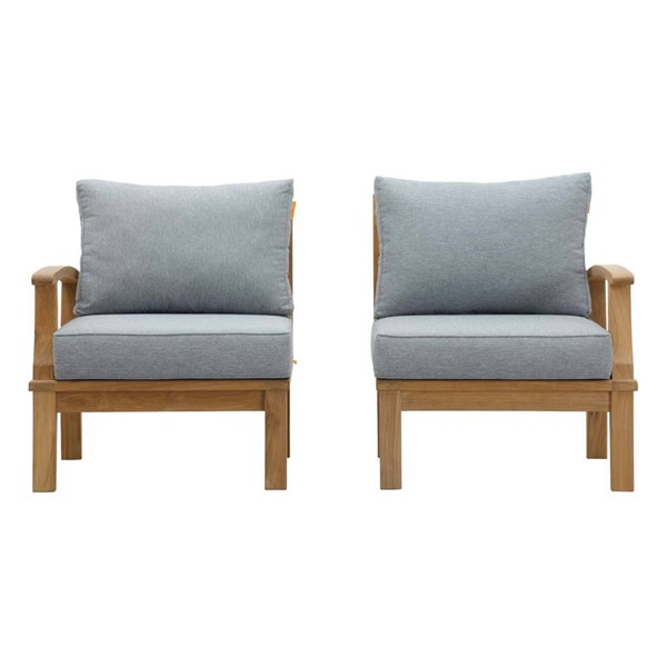 Modway Furniture Marina Gray 2pc Outdoor Patio Teak Sets EEI-1822-NAT-OLS-SET-VAR