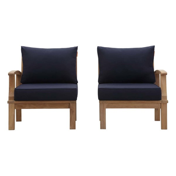 Modway Furniture Marina Navy 2pc Outdoor Patio Teak Set EEI-1822-NAT-NAV-SET