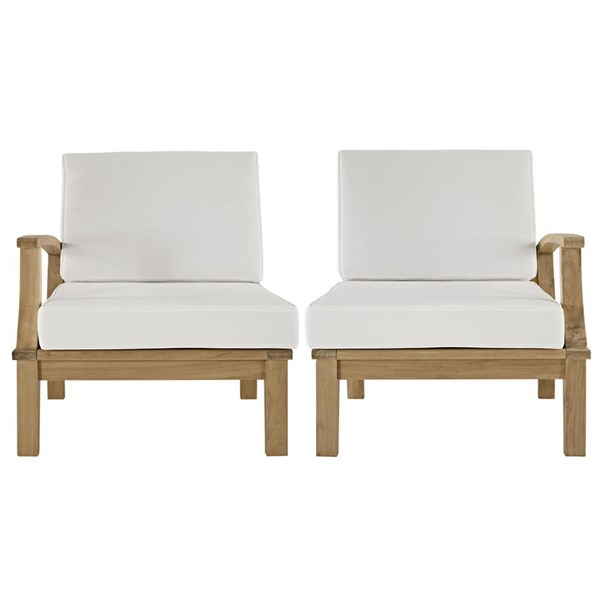 2 Marina Natural White Wood Outdoor Patio One Arm Chairs EEI-1822-NAT-WHI-SET