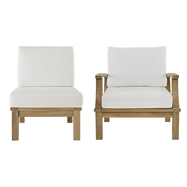 Modway Furniture Marina Natural White 2pc Outdoor Patio Teak Set EEI-1823-NAT-WHI-SET