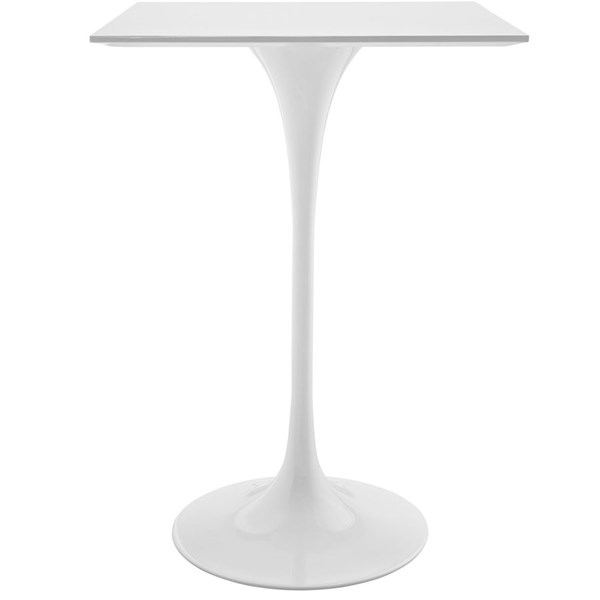 Lippa Traditional White Wood Metal 28 Inch Square Top Bar Table EEI-1826-WHI