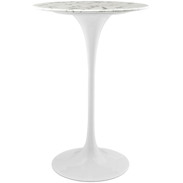 Lippa Modern White Marble Metal 28 Inch Bar Table EEI-1827-WHI