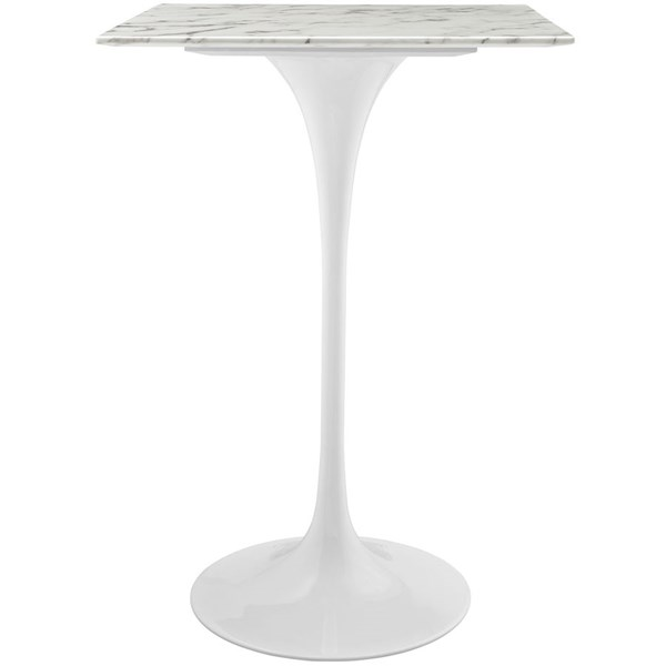 Lippa Traditional White Marble Metal 28 Inch Bar Table EEI-1828-WHI