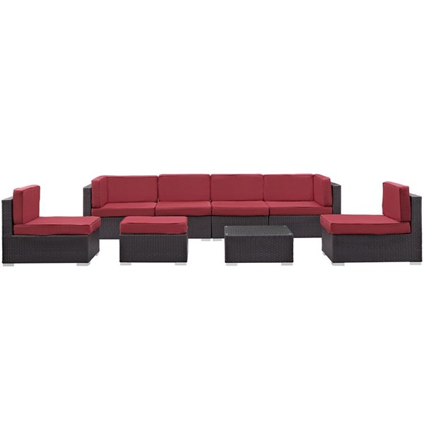 Gather Red Fabric PE Rattan Glass 8pc Outdoor Sofa Set EEI-1830-EXP-RED-SET