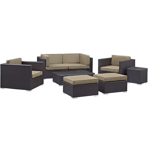 Gather Mocha Fabric PE Rattan Glass 8pc Outdoor Patio Sofa Sets EEI-1835-OS-SS-VAR