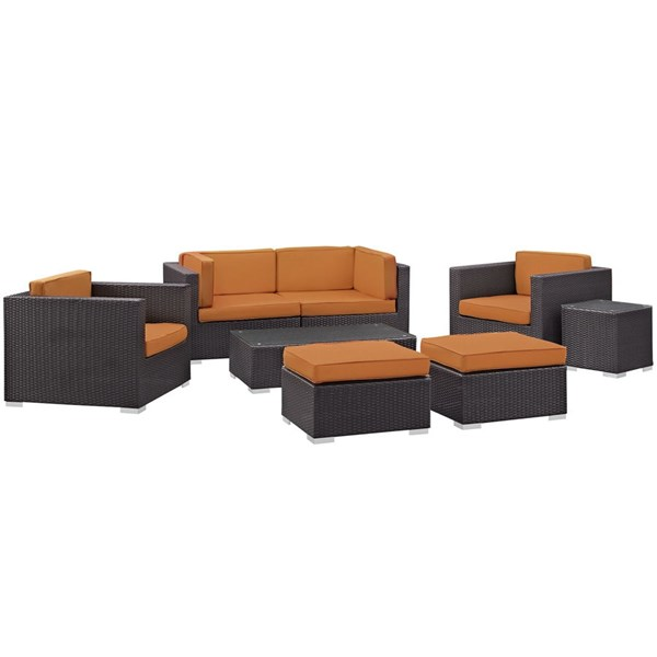 Gather Orange Fabric PE Rattan Glass 8pc Outdoor Patio Sofa Set EEI-1835-EXP-ORA-SET