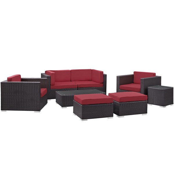 Gather Red Fabric PE Rattan Glass 8pc Outdoor Patio Sofa Set EEI-1835-EXP-RED-SET