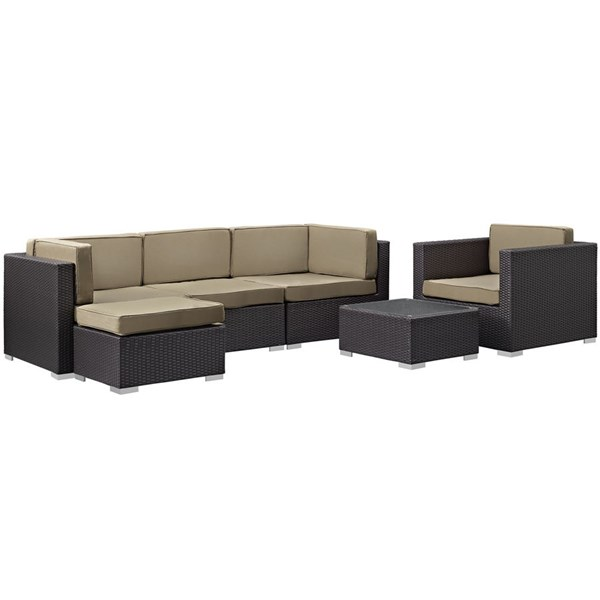Gather Mocha Fabric PE Rattan Glass 6pc Outdoor Patio Sofa Set EEI-1836-EXP-MOC-SET