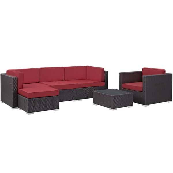 Gather Red Fabric PE Rattan Glass 6pc Outdoor Patio Sofa Set EEI-1836-EXP-RED-SET