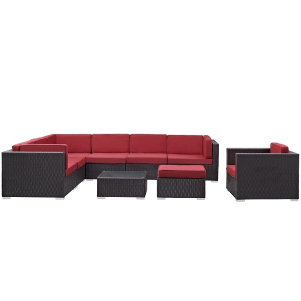 Gather Red Fabric PE Rattan Glass 9pc Outdoor Patio Sectional Set EEI-1837-EXP-RED-SET