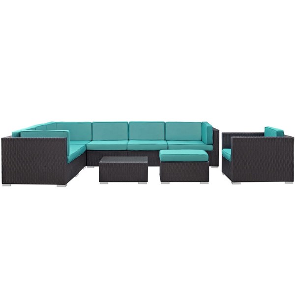 Gather Turquoise Fabric PE Rattan 9pc Outdoor Patio Sectional Set EEI-1837-EXP-TRQ-SET