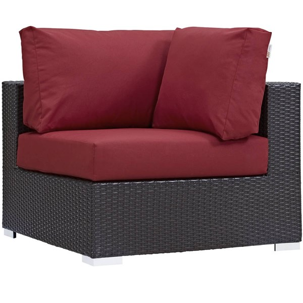 Modway Furniture Convene Espresso Red Outdoor Patio Corner Chair EEI-1840-EXP-RED