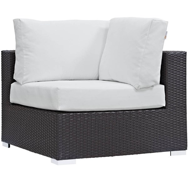Modway Furniture Convene Espresso White Outdoor Patio Corner Chair EEI-1840-EXP-WHI