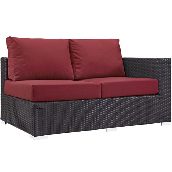 Convene Red Fabric EXP Rattan Outdoor Patio Right Arm Loveseat EEI-1841-EXP-RED