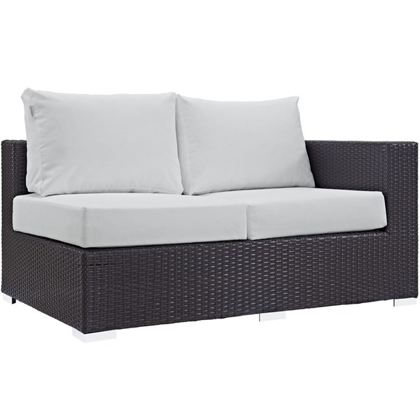 Convene White Fabric EXP Rattan Outdoor Patio Right Arm Loveseat EEI-1841-EXP-WHI