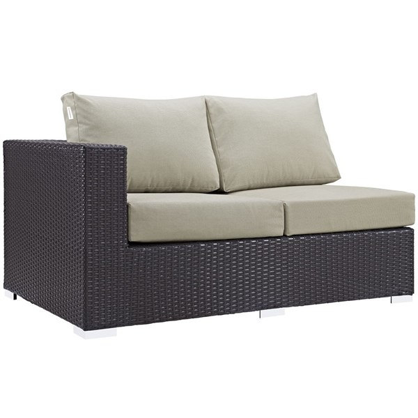 Convene Beige Fabric EXP Rattan Outdoor Patio Left Arm Loveseat EEI-1842-EXP-BEI