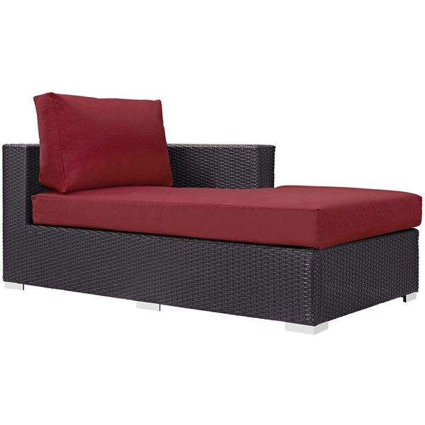 Convene Espresso Red Fabric Rattan Outdoor Patio Right Arm Chaise EEI-1843-EXP-RED