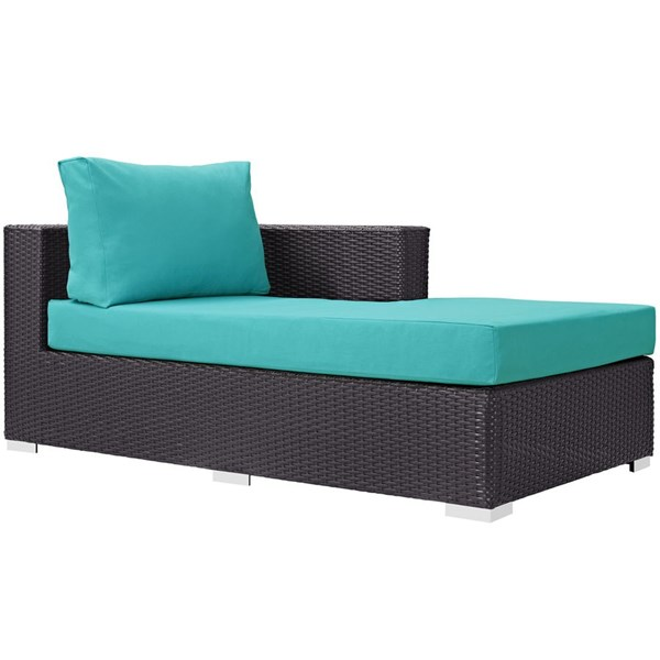 Convene Turquoise Fabric Rattan Outdoor Patio Right Arm Chaise EEI-1843-EXP-TRQ