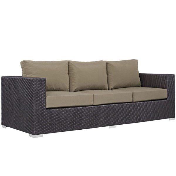 Modway Furniture Convene Espresso Mocha Outdoor Patio Sofa EEI-1844-EXP-MOC