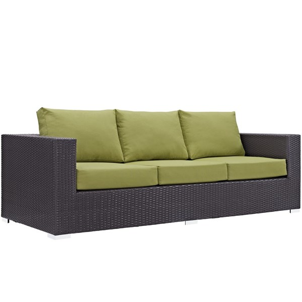 Modway Furniture Convene Espresso Peridot Outdoor Patio Sofa EEI-1844-EXP-PER