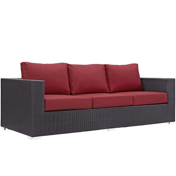 Convene Espresso Red Fabric EXP Rattan Aluminum Outdoor Patio Sofa EEI-1844-EXP-RED