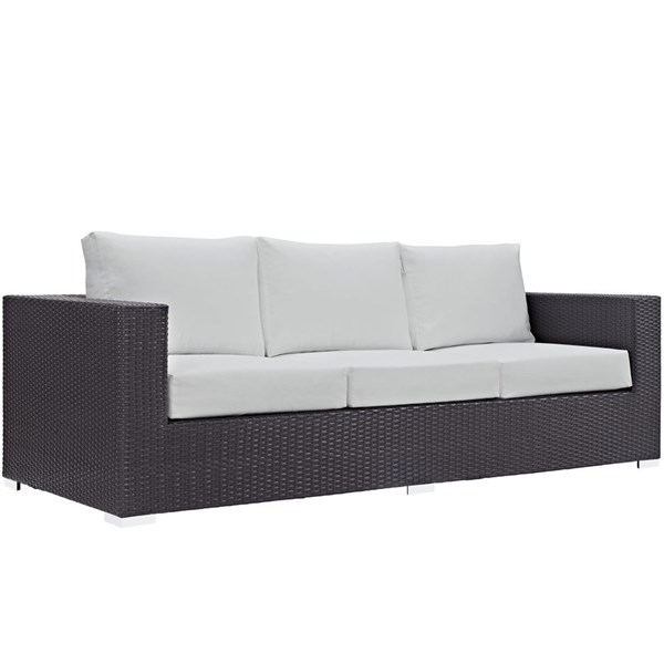 Modway Furniture Convene Espresso White Outdoor Patio Sofa EEI-1844-EXP-WHI