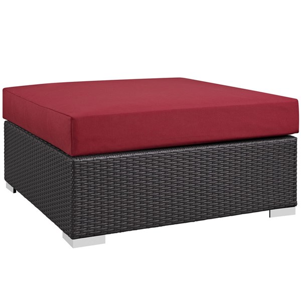 Modway Furniture Convene Espresso Red Outdoor Patio Large Square Ottoman EEI-1845-EXP-RED