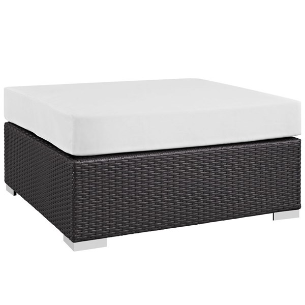 Convene White Fabric EXP Rattan Large Square Outdoor Patio Ottoman EEI-1845-EXP-WHI