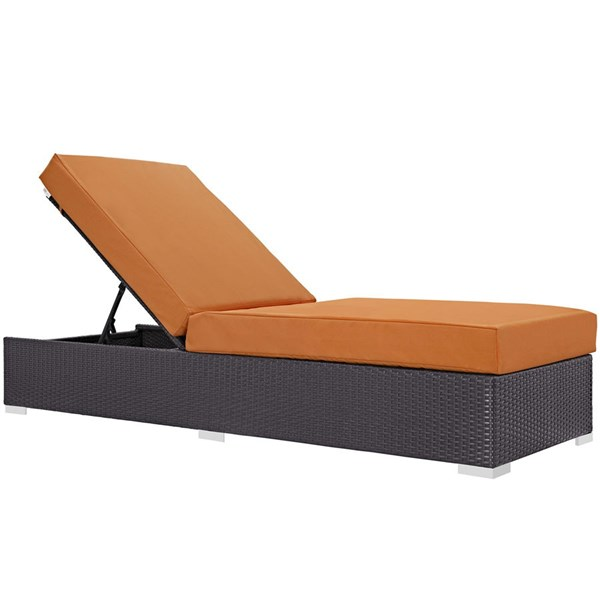 Modway Furniture Convene Espresso Orange Outdoor Patio Chaise Lounge EEI-1846-EXP-ORA
