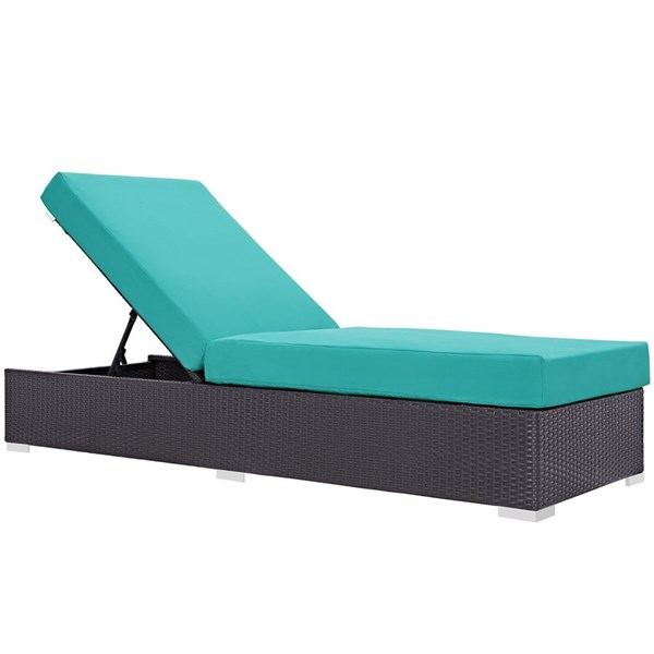 Convene Turquoise Fabric EXP Rattan Outdoor Patio Chaise Lounge EEI-1846-EXP-TRQ
