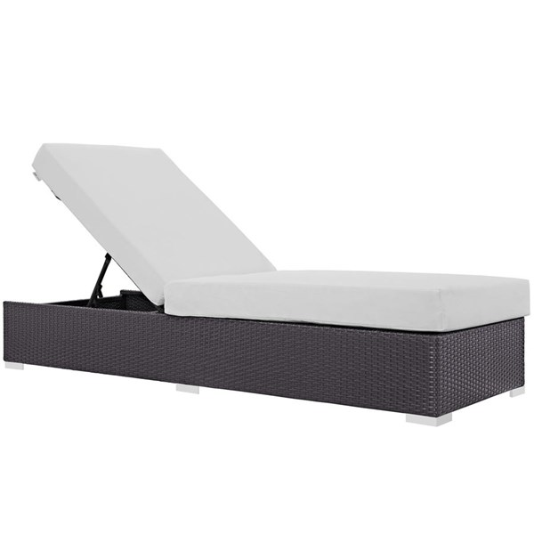 Modway Furniture Convene Espresso White Outdoor Patio Chaise Lounge EEI-1846-EXP-WHI