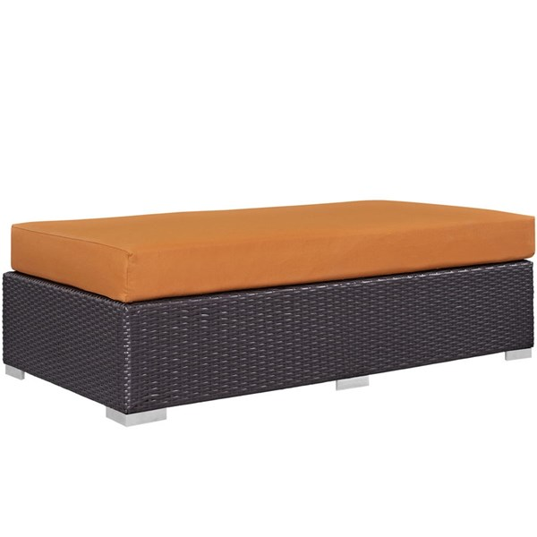Convene Espresso Orange Fabric Rattan Rectangle Outdoor Patio Ottoman EEI-1847-EXP-ORA
