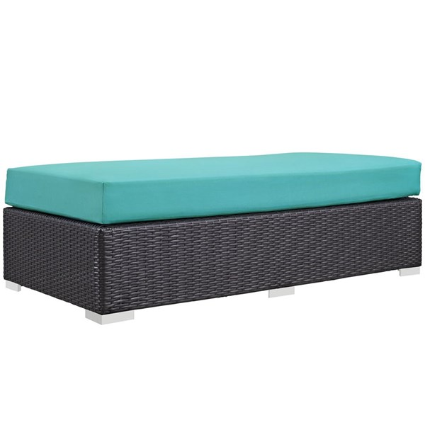 Modway Furniture Convene Espresso Turquoise Outdoor Patio Rectangle Ottoman EEI-1847-EXP-TRQ