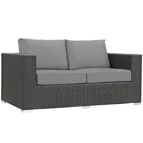 Modway Furniture Sojourn Gray Outdoor Sunbrella Loveseat EEI-1851-CHC-GRY