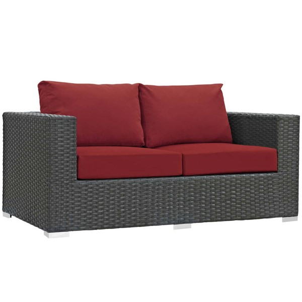 Modway Furniture Sojourn Red Outdoor Sunbrella Loveseat EEI-1851-CHC-RED