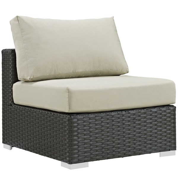 Sojourn Beige Fabric Rattan Aluminum Outdoor Patio Armless Chair EEI-1854-CHC-BEI