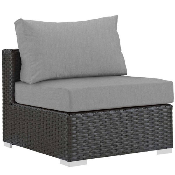 Modway Furniture Sojourn Gray Outdoor Sunbrella Armless Chair EEI-1854-CHC-GRY