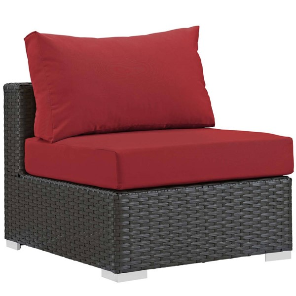 Modway Furniture Sojourn Red Outdoor Sunbrella Armless Chair EEI-1854-CHC-RED