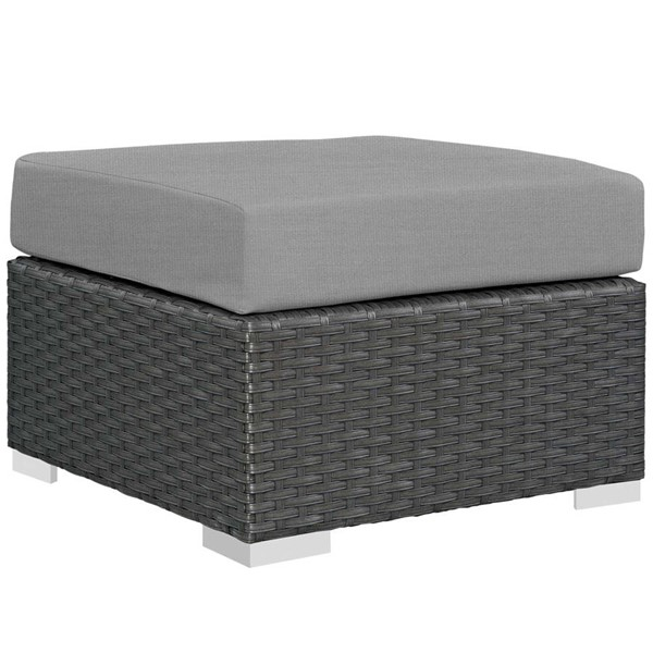Modway Furniture Sojourn Gray Outdoor Patio Sunbrella Ottoman EEI-1855-CHC-GRY