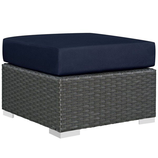 Modway Furniture Sojourn Navy Outdoor Patio Sunbrella Ottoman EEI-1855-CHC-NAV