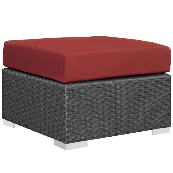 Modway Furniture Sojourn Red Outdoor Patio Sunbrella Ottoman EEI-1855-CHC-RED
