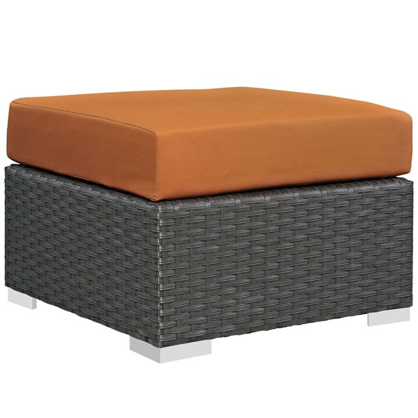 Sojourn Canvas Tuscan Fabric Rattan Aluminum Outdoor Patio Ottoman EEI-1855-CHC-TUS