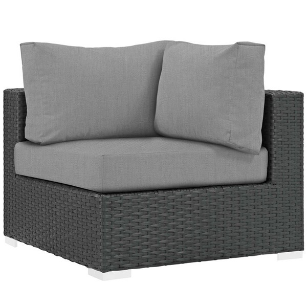 Modway Furniture Sojourn Gray Outdoor Patio Sunbrella Corner EEI-1856-CHC-GRY
