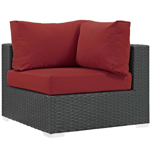 Modway Furniture Sojourn Red Outdoor Patio Sunbrella Corner EEI-1856-CHC-RED