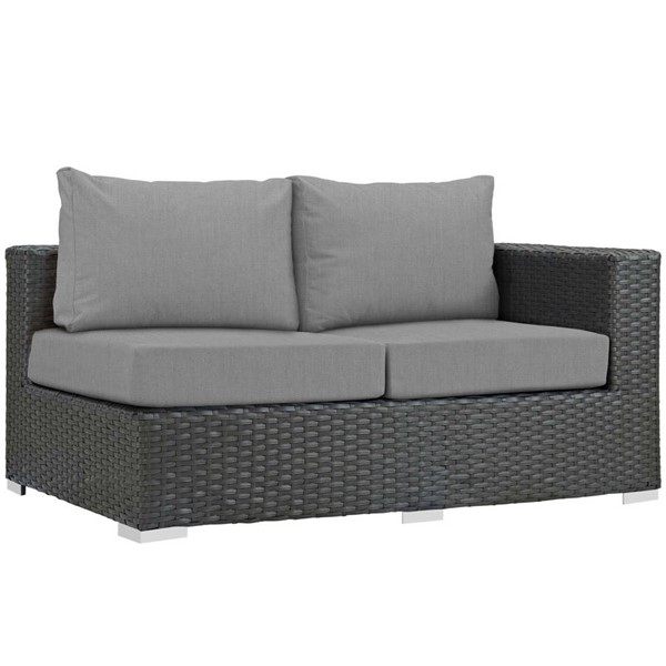 Modway Furniture Sojourn Gray Outdoor Sunbrella Right Arm Loveseat EEI-1857-CHC-GRY