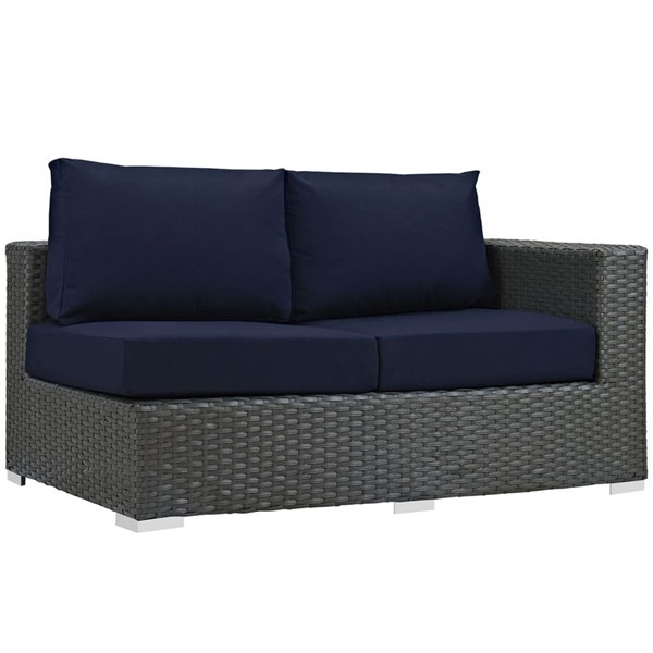 Modway Furniture Sojourn Navy Outdoor Sunbrella Right Arm Loveseat EEI-1857-CHC-NAV