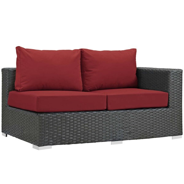 Modway Furniture Sojourn Red Outdoor Sunbrella Right Arm Loveseat EEI-1857-CHC-RED