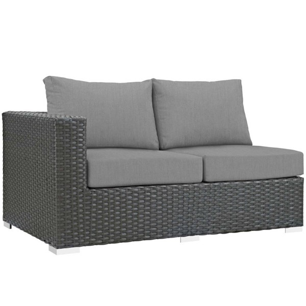 Modway Furniture Sojourn Gray Outdoor Sunbrella Left Arm Loveseat EEI-1858-CHC-GRY